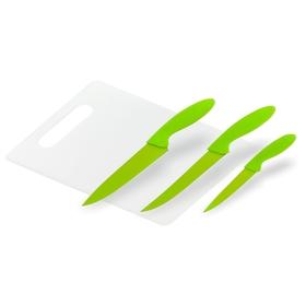 Набор кухонный, 4 предмета: 3 ножа 13/20/20 см, доска разделочная 35×24 см, цвет МИКС