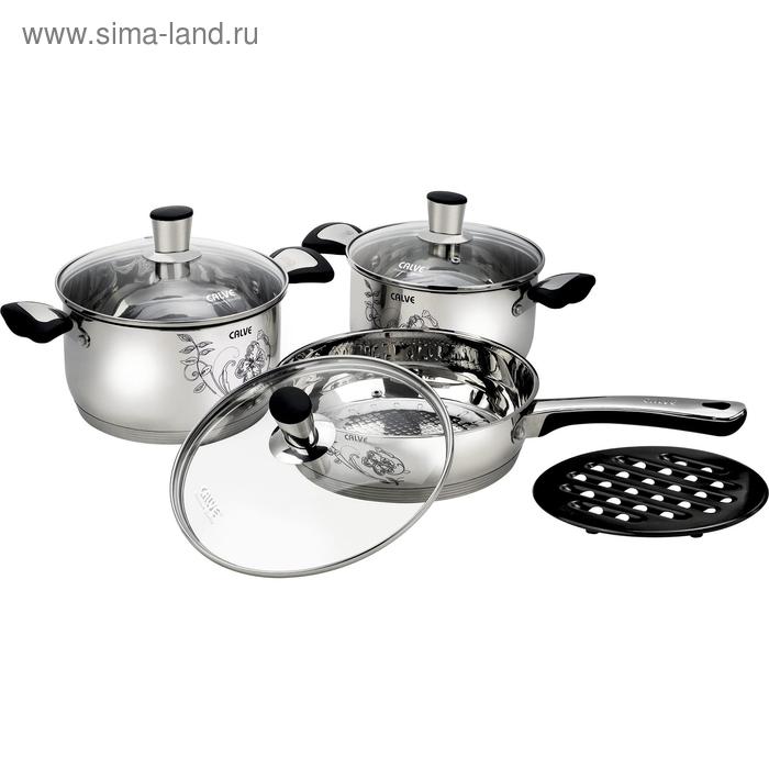 Набор посуды CALVE, 7 предметов: сковорода d=24 см, кастрюля 3,6 л, кастрюля 2,7 л