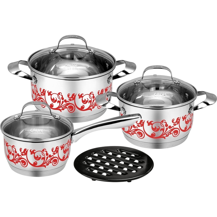 Набор посуды CALVE, 7 предметов: сотейник 1,7 л, кастрюля 2,4 л, кастрюля 3,3 л, крышки