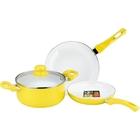 Набор посуды, 4 предмета: сковорода, ковш, кастрюля, крышка, керамическое покрытие, цвет МИКС