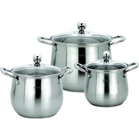 Набор посуды CALVE, 6 предметов: кастрюли 3,5 л; 5,5 л; 9 л, крышки