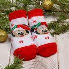 """Носки новогодние детские """"С новым годом"""" Дисней бэби, Микки Маус 6-8 см, белые"""