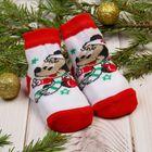 """Носки детские """"Новогодние"""", Минни Маус, Дисней беби, 6-8 см, 3-6 мес, 80% хлопок,17% полиамид, 3% эластан"""