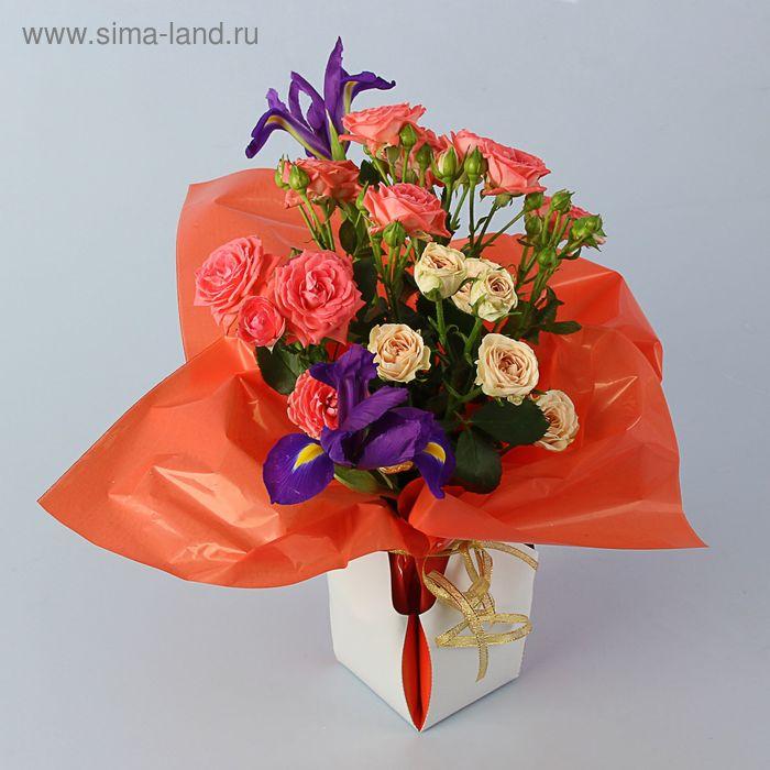 Коробка для цветов 2в1, 6х9 см, сборная, персиковый