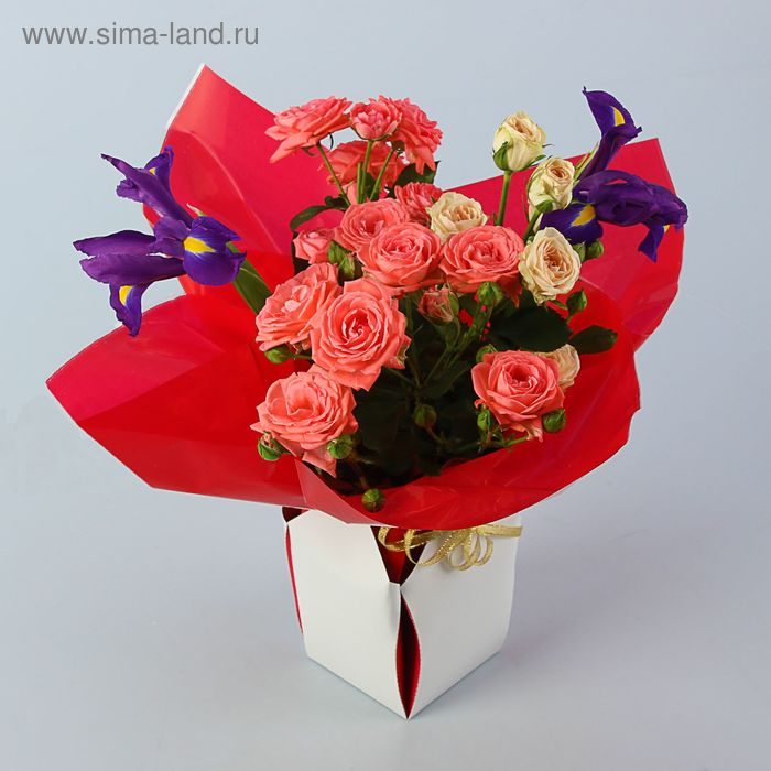 Коробка для цветов 2в1, 9х12 см, сборная, ярко-красный