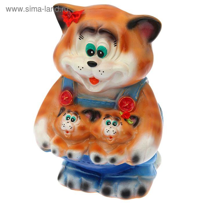"""Копилка """"Кошка с котятами в кармане"""" глянец, рыжая"""