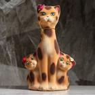"Копилка ""Кошка с котятами"" флок, бежево-леопардовая"