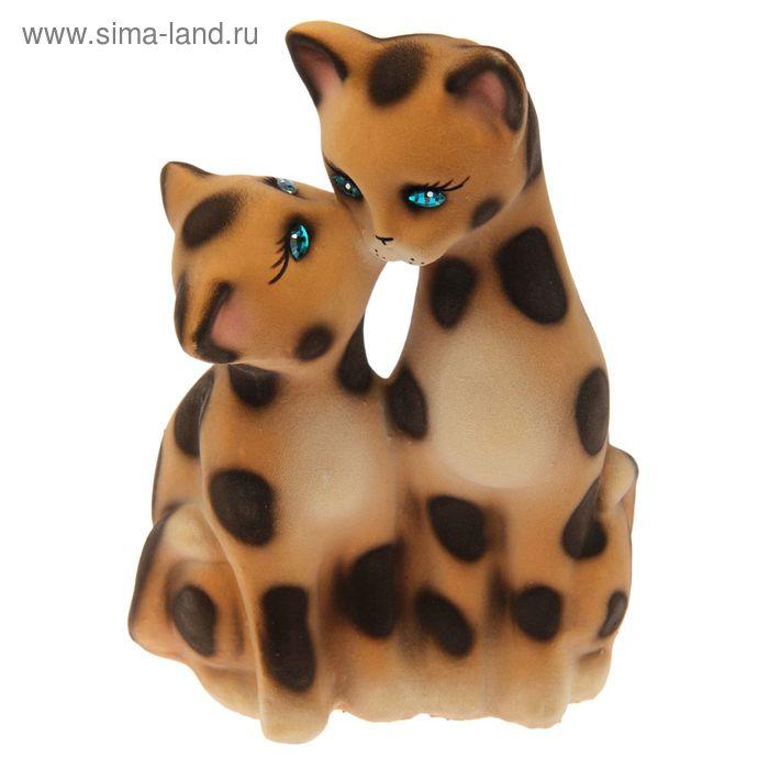 """Копилка """"Коты целующиеся"""" флок, бежево-леопардовая"""