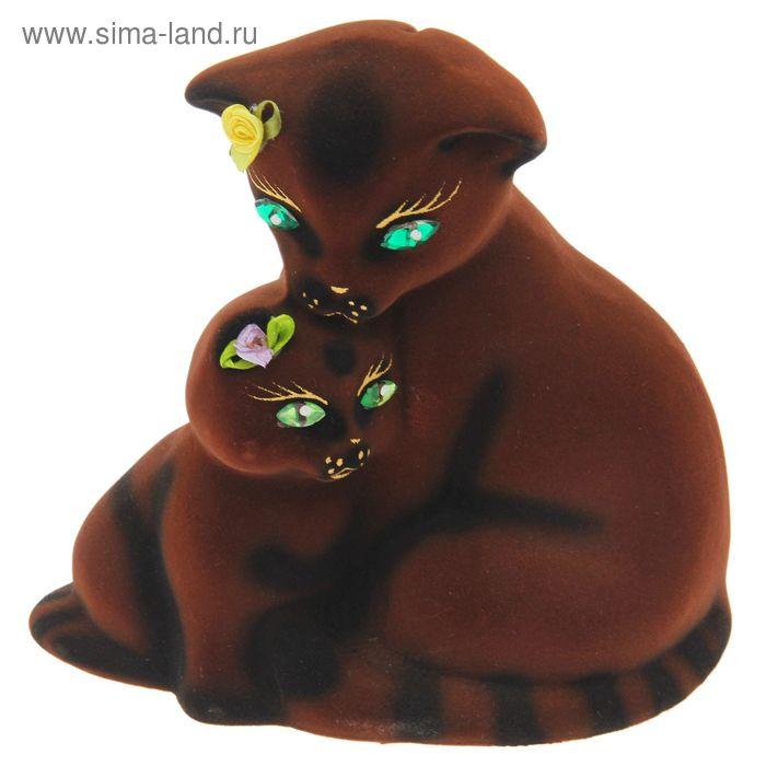 """Копилка """"Кошка с котёнком"""" малая, флок, коричневая"""