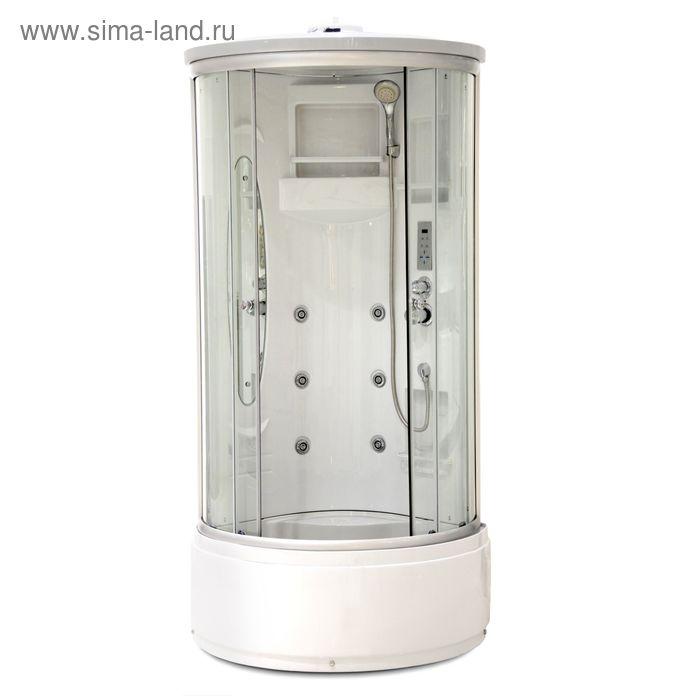 Кабина душевая LUXUS T11A, высокий поддон, переднее стекло прозрачное, 900х900х2200 мм