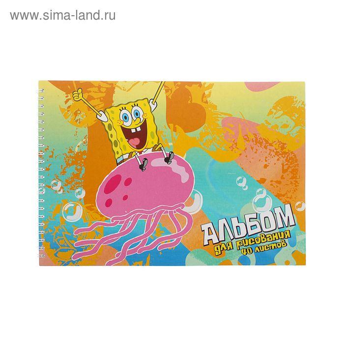 Альбом д/рис А4 40л на гребне Губка Боб, обложка мел карт 235 гр/м2 86111