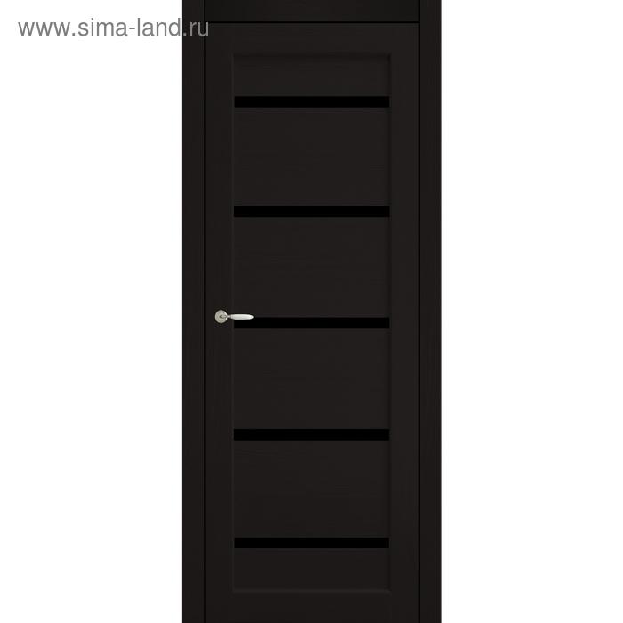 Дверное полотно остекленное Аврора Венге, черный лакобель 2000х600