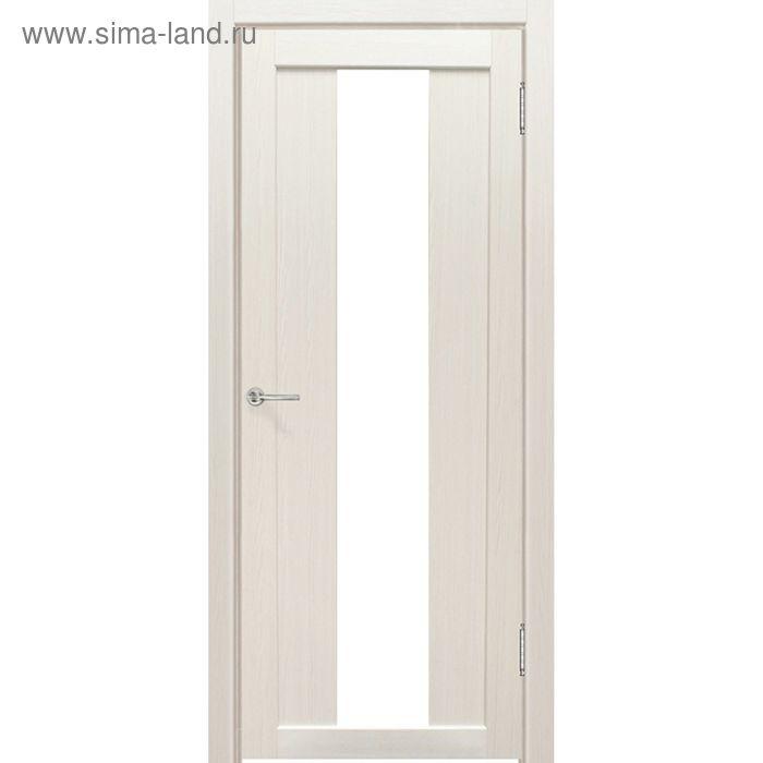 Дверное полотно остекленное Сардиния Дуб перламутр, белый лакобель 2000х600