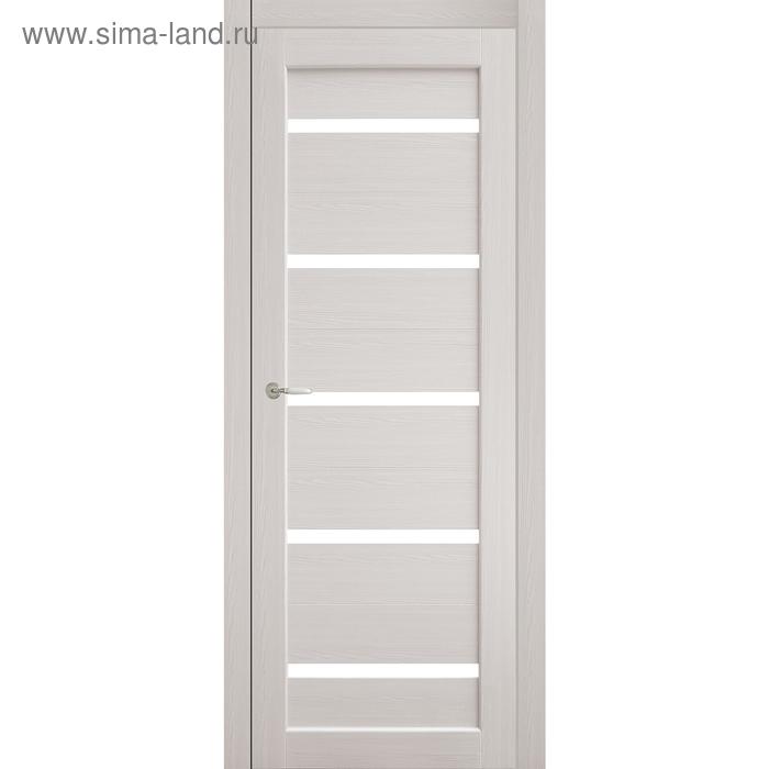 Дверное полотно остекленное Аврора Дуб перламутр, белый лакобель 2000х700