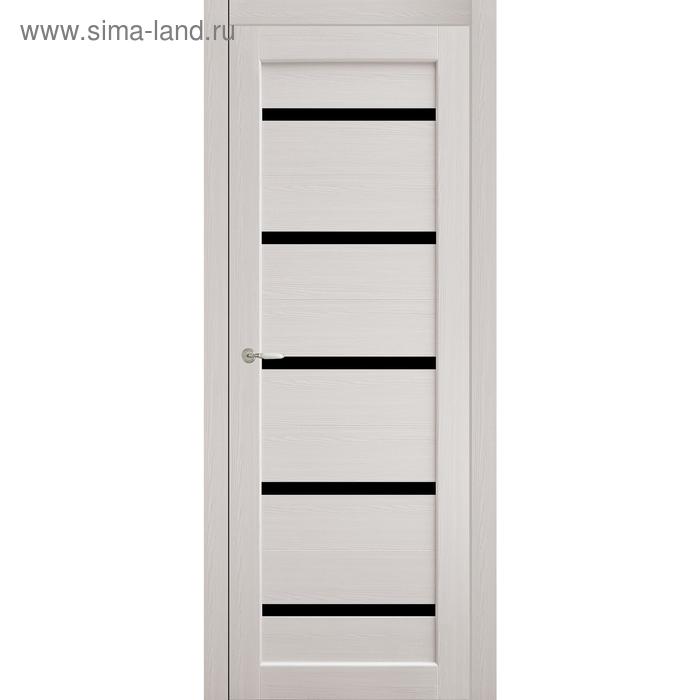 Дверное полотно остекленное Аврора Дуб перламутр, черный лакобель 2000х700
