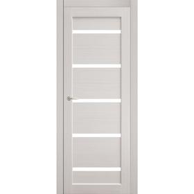 Дверное полотно остекленное Аврора Дуб перламутр, белый лакобель 2000х800