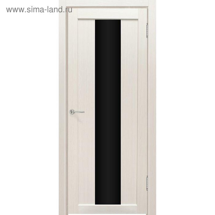 Дверное полотно остекленное Сардиния Дуб перламутр, черный лакобель 2000х800