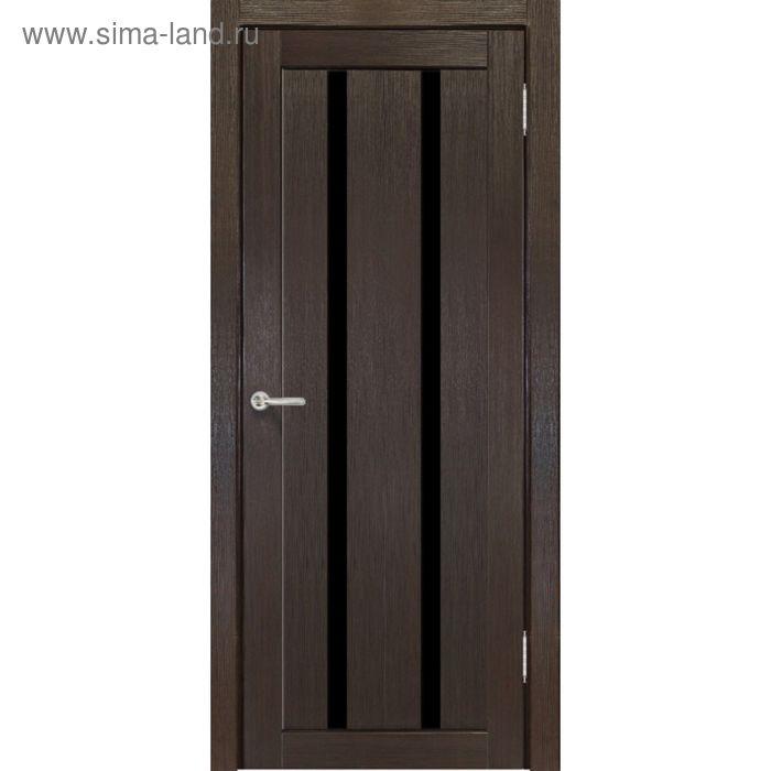 Дверное полотно остекленное Сицилия Венге, черный лакобель 2000х800