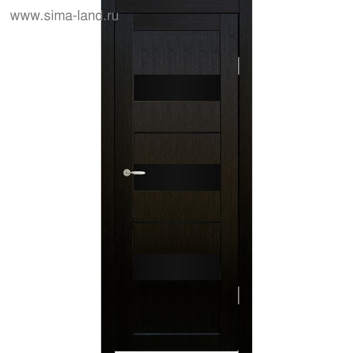 Дверное полотно остекленное Мальта Венге, черный лакобель 2000х800