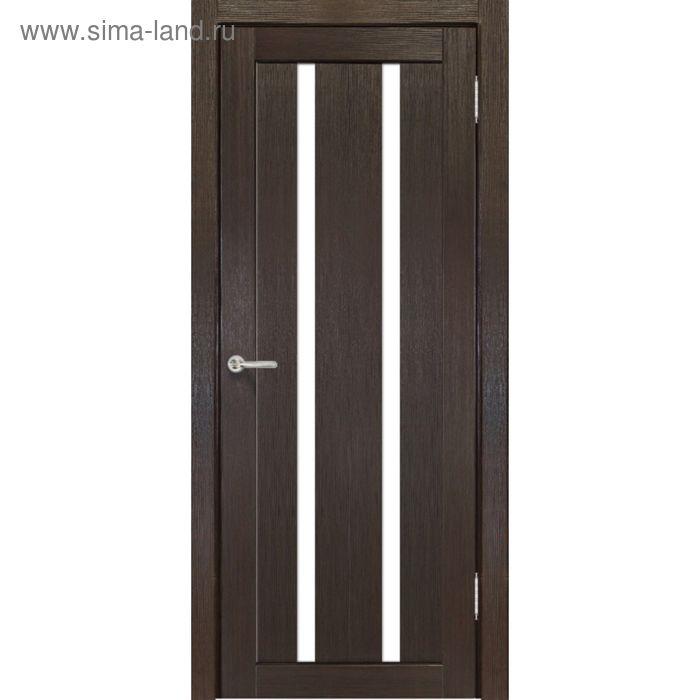 Дверное полотно остекленное Сицилия Венге, белый лакобель 2000х900