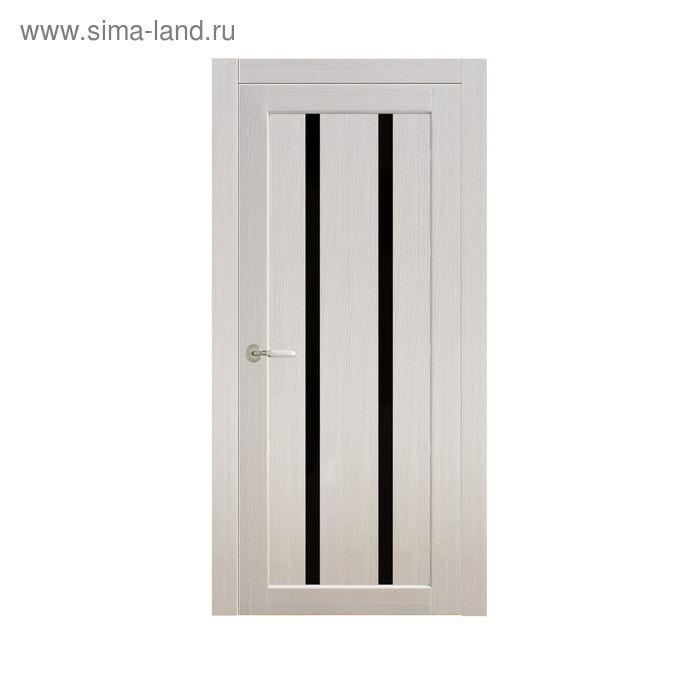 Дверное полотно остекленное Сицилия Дуб перламутр, черный лакобель 2000х800