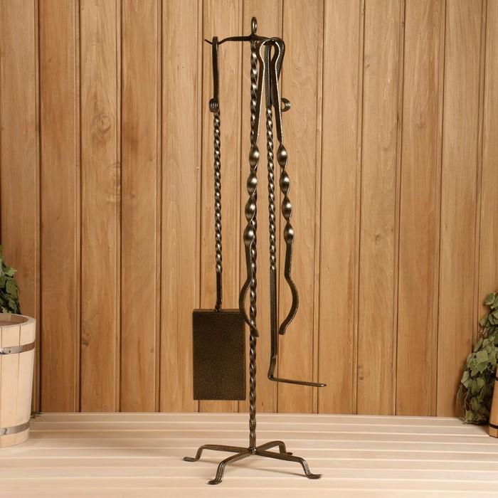 """Каминный набор кованый """"Гранит"""", цвет золото 3 предмета: кочерга, щипцы, совок"""