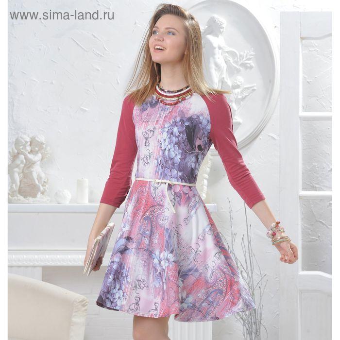 Платье, размер 46, рост 164 см, цвет сирень/терракот (арт. 4566)