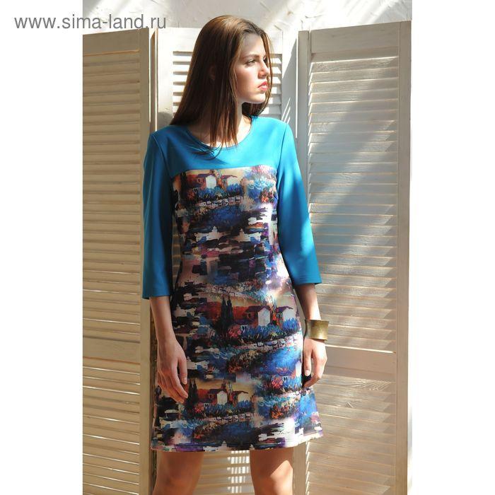 Платье, размер 46, рост 164 см, цвет голубой (арт. 4995а)