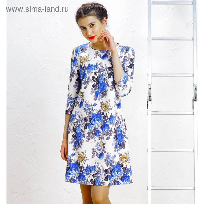 Платье, размер 48, рост 164 см, цвет белый/синий/серый (арт. 5086)
