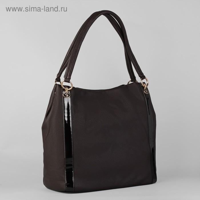 Сумка женская на молнии, 1 отдел с расширением, 1 наружный карман, коричневая