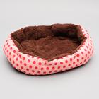 Лежанка малая с меховой подушечкой, 38 х 32 х 10 см, розовая