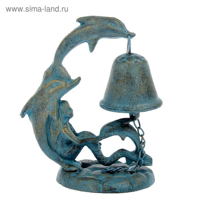 """Сувенир колокол """"Два дельфина на волне"""""""