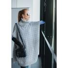 Пончо с воротом, вязка косички (кардиган) 76х140 см, серый меланж, акрил 100%