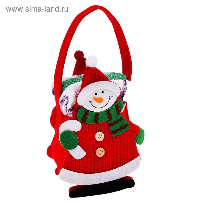 """Набор полотенец в корзинке Collorista """"Снеговик"""" - 2 шт., 30х30 см махровое, 38х64 см вафельное полотно"""