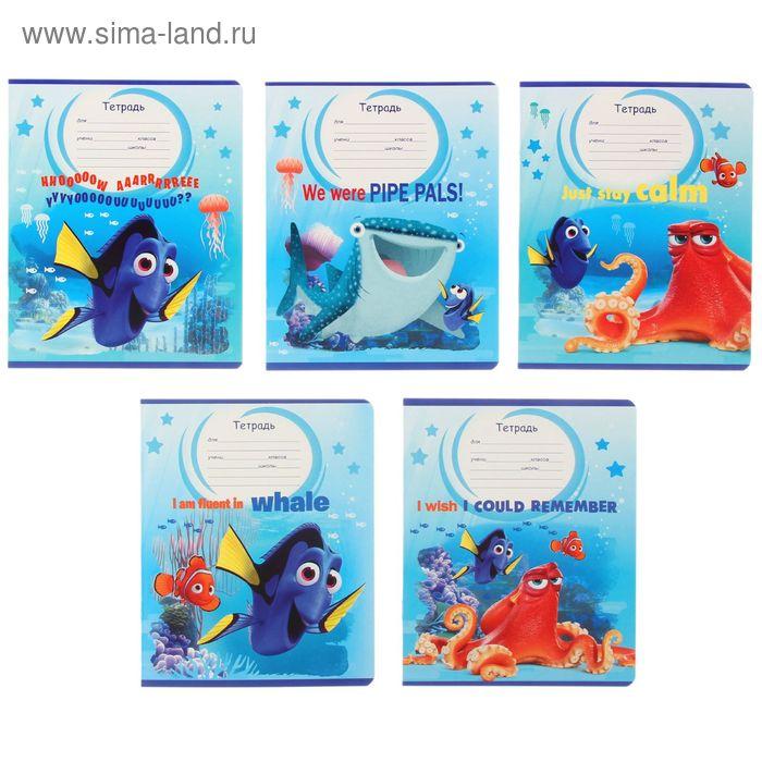 """Тетрадь 12 листов клетка """"Disney/Pixar. Дори-5"""", картонная обложка, 5 видов МИКС"""