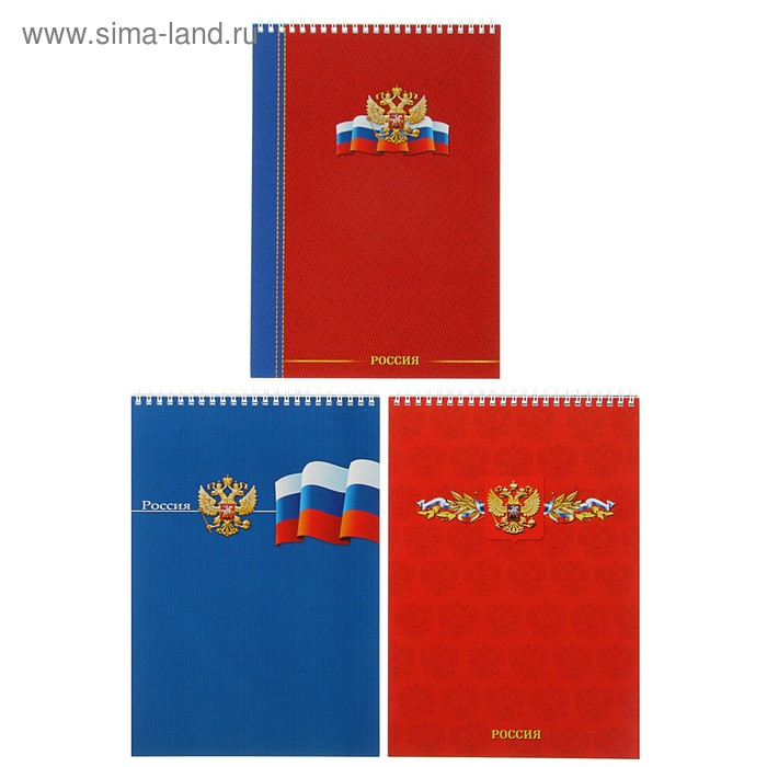 """Блокнот А4, 60 листов на гребне """"Россия-великая страна"""", блок-офсет, мелованная обложка, микс"""