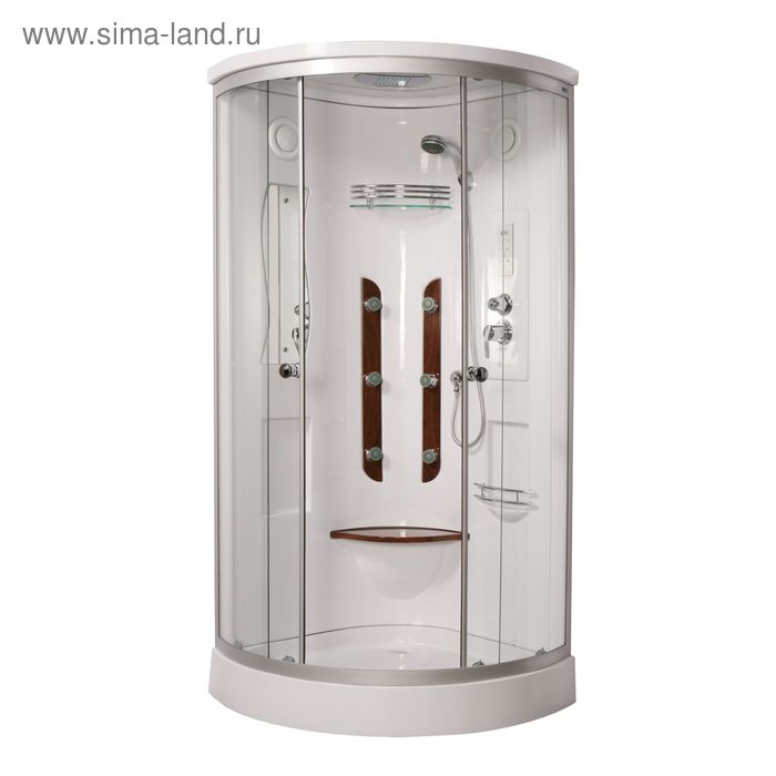 Кабина душевая LUXUS 023D, низкий поддон, переднее стекло прозрачное, 900x900x2050 мм