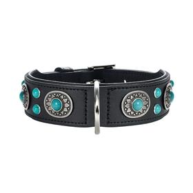 Ошейник кожаный украшенный для собак  Hunter Sioux 55, 41-49 см, черный, с имитацией бирюзы   156249