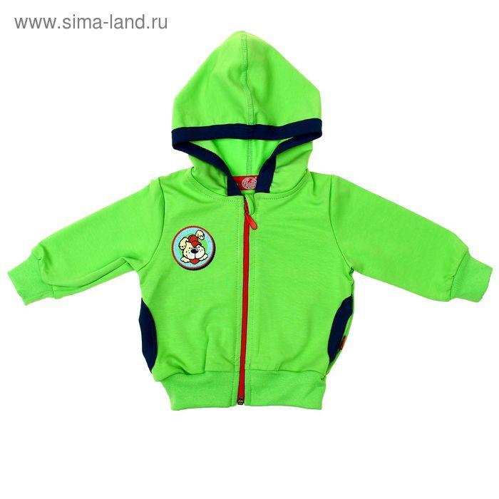 """Куртка для мальчика """"Пёс на ферме"""", рост 74 см (48), цвет салатовый (арт. ЮДД033258_М)"""