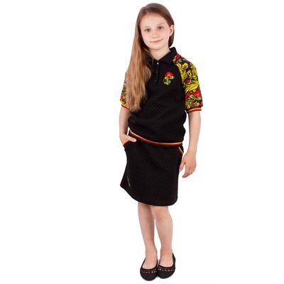 """Юбка для девочки """"Хохлома"""", рост 116 см (60), цвет чёрный"""