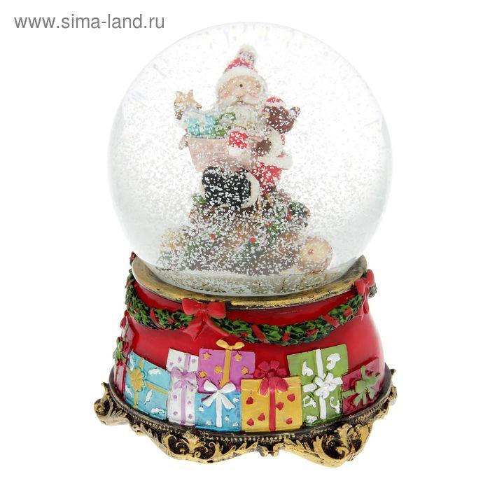 """Сувенир водяной шар """"Дед Мороз на куче подарков"""" музыкальный"""