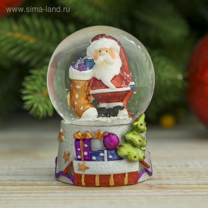 """Сувенир водяной шар """"Дед Мороз с носком подарков"""""""