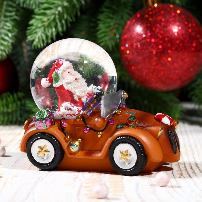 """Сувенир водяной шар """"Дед Мороз на автомобиле"""" - фото 370249364"""