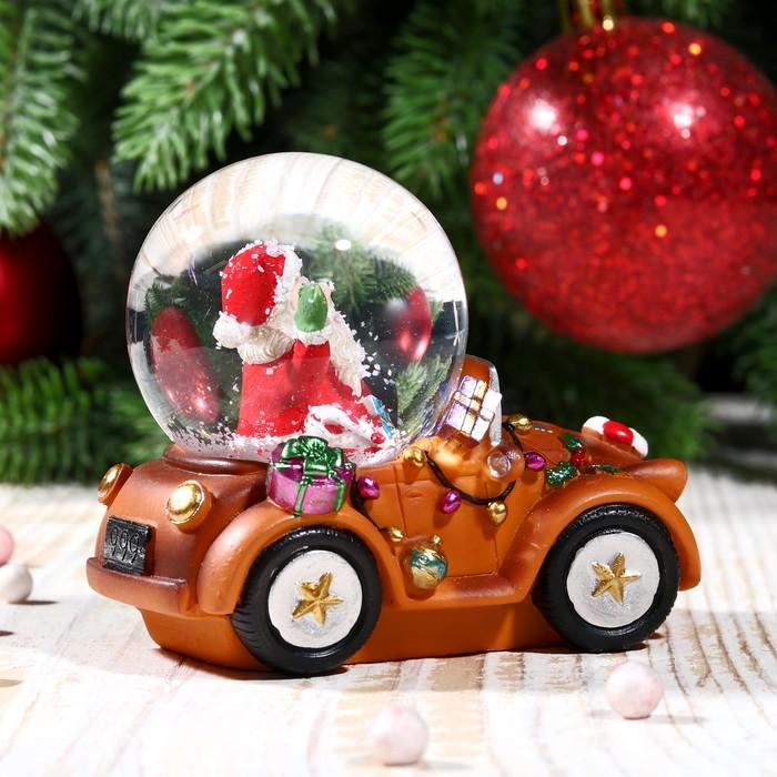 """Сувенир водяной шар """"Дед Мороз на автомобиле"""" - фото 370249365"""