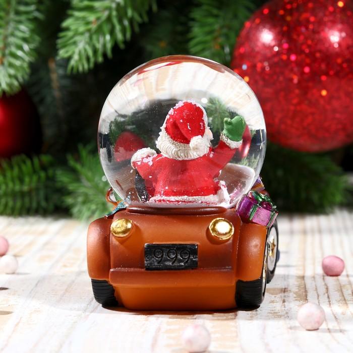 """Сувенир водяной шар """"Дед Мороз на автомобиле"""" - фото 370249366"""