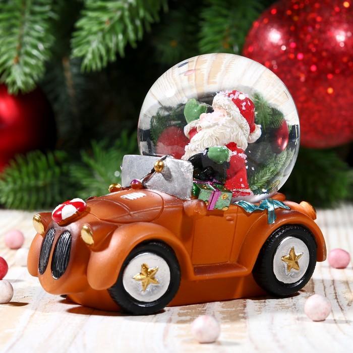 """Сувенир водяной шар """"Дед Мороз на автомобиле"""" - фото 370249367"""