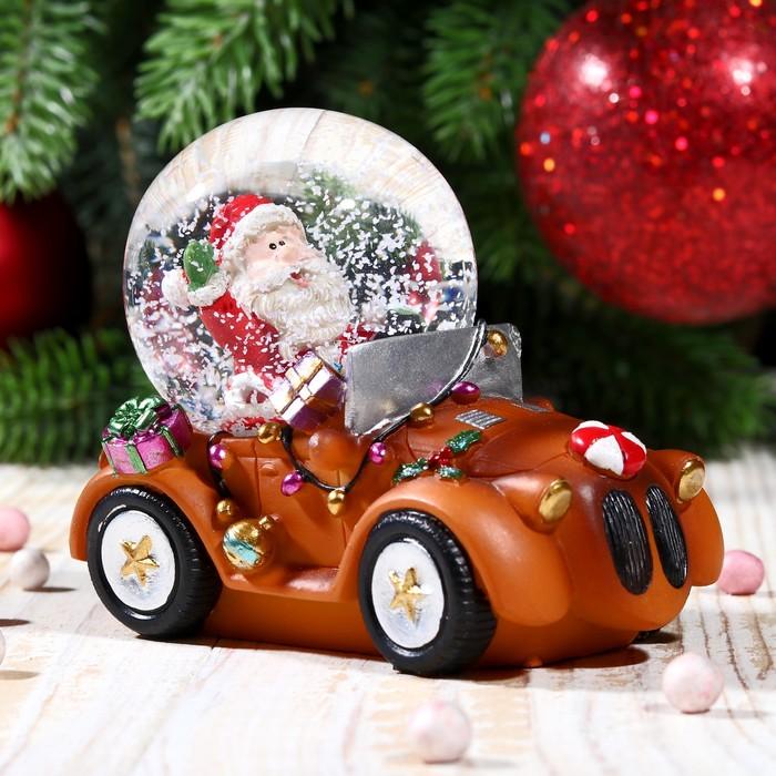 """Сувенир водяной шар """"Дед Мороз на автомобиле"""" - фото 370249368"""
