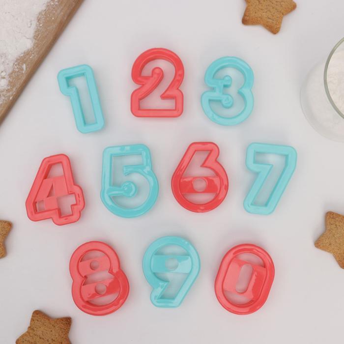 """Набор форм для вырезания печенья """"Цифры"""", 10 шт, цвета МИКС - фото 308034023"""