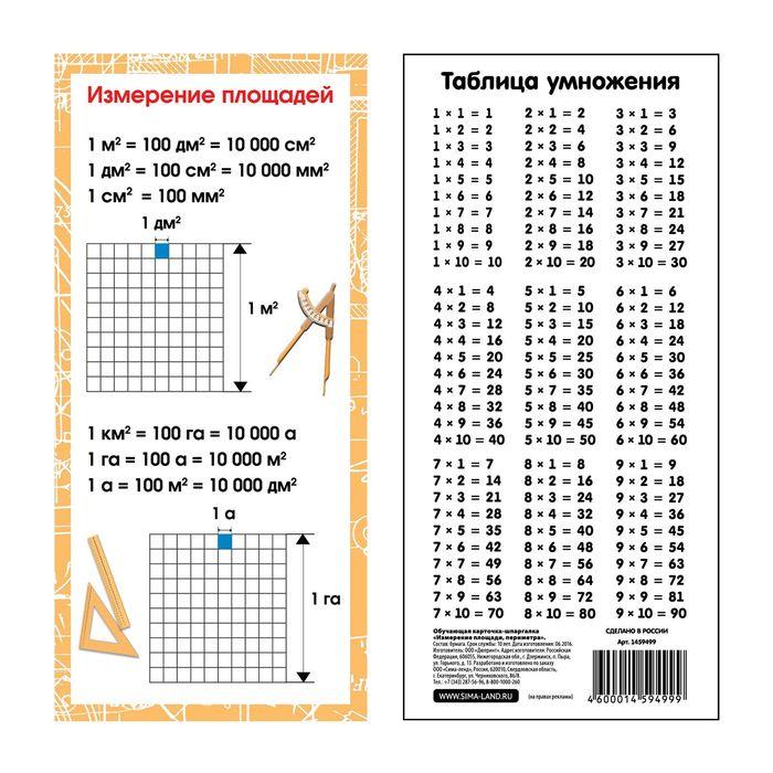 """Шпаргалка обучающая """"Измерение площади, периметра"""""""