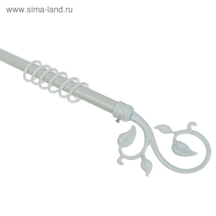 """Карниз однорядный раздвижной 160-310 см, d=16/19 мм """"Росток"""", 24 кольца, 3 крепления, цвет белый"""
